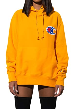 CHAMPION Reverse Weave Sublimated Big C Chenille Logo Pullover Hoodie Sweatshirt
