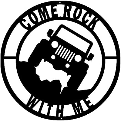 Amazoncom Come Rock Jeep Cut Out Wall Art Silhouette Metal Sign
