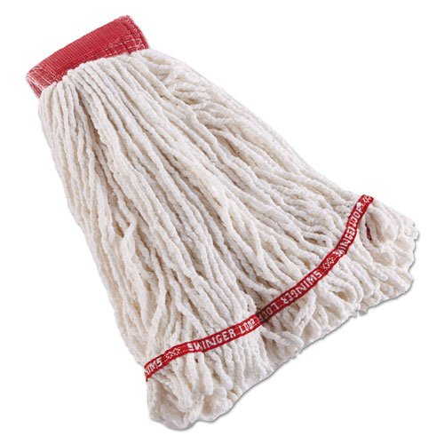 Swinger Loop Shrinkless Mop Heads, Cotton/synthetic, White, Large, 6/ct