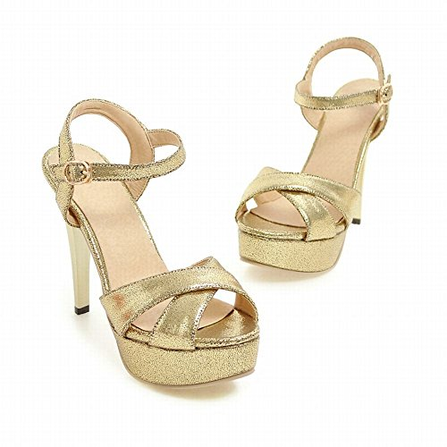Mee Shoes Damen high heels Plateau Schnalle Sandalen Gold