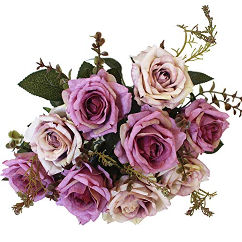 Sunlightam Roses Artificial Flowers 9 Heads Bouquet, Silk Fake Flowers Vintage Décor for Wedding, Home, Party (Purple)