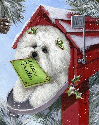 Bichon Frise Santa's List-CG - Frise Cards Bichon Christmas