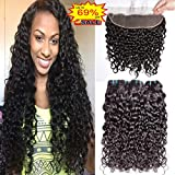 Brazilian Water Wave 3 Bundles With Frontal Closure Free Part Wet And Wavy 8A Virgin Curly Human Hair Bundles With 13x4 Lace Frontal Closure (12 14 16 + Fr 10)