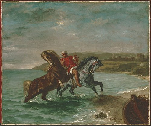 (Berkin Arts Eugene Delacroix Giclee Art Paper Print Art Works Paintings Poster Reproduction(Horses Coming Out of The)