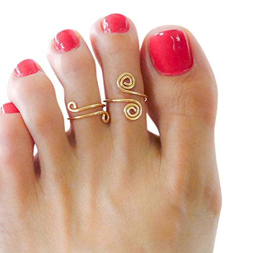 14k Gold Filled Swirl Wire Wrap Sets Adjustable Midi Toe Rings for Women Handmade in The USA -