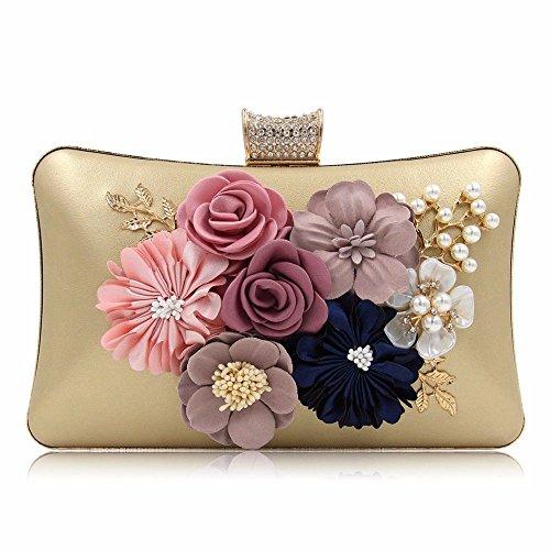 sacoche brodés 2018 pearl diamond Golden high sac garnis banquet sac pochette perle grade fleur golden robe nouvelle q6prwxnX6
