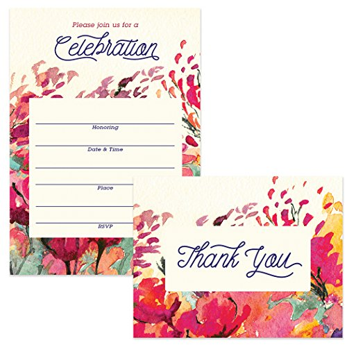 All Occasion Invitations (100) & Thank You Cards (100) Matched Set with Envelopes Large Family Office Church Celebration Birthday Retirement Fill-in Invites & Folded Thank You Notes Best Value]()