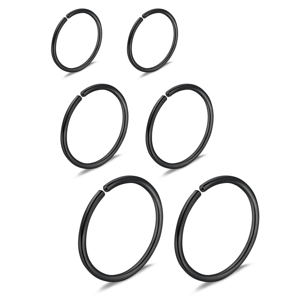Ruifan 6PCS Mix Size Stainless Steel Clip on Fake Nose Lip Helix Cartilage Tragus Ear Hoop Ring 22G 6mm/8mm/10mm DZK00001