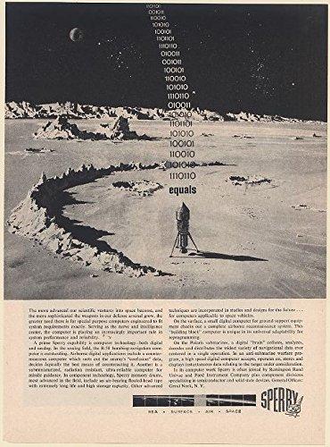 1961 Sperry Computer Binary Code Equals Rocket Moon Landing Print Ad 66570