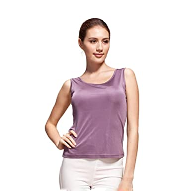 de7d714c64ca6 Forever Angel Women s 100% Silk Knitted Casual Tank Purple Size XS