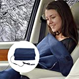 Womdee Heated Electric Blanket, 12v Car Electric Heating Blanket Cozy & Portable & Constant Temperature Adjustable & High Insulation Travel Throw, 150 * 110cm