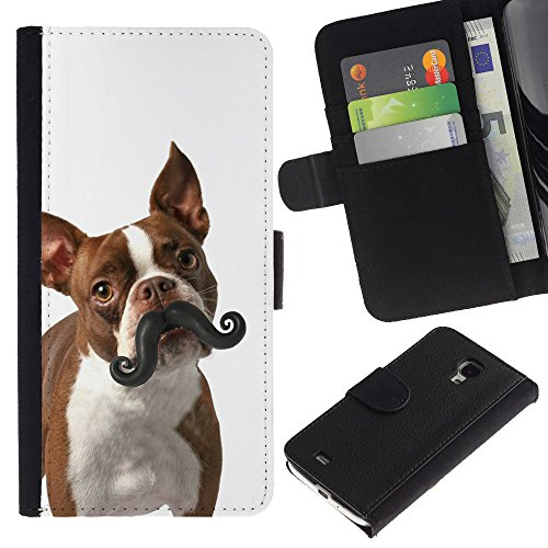 EuroCase - Samsung Galaxy S4 Mini i9190 MINI VERSION! - boston terrier humunga moustache dog - Cuero PU Delgado caso cubierta Shell Armor Funda Case Cover
