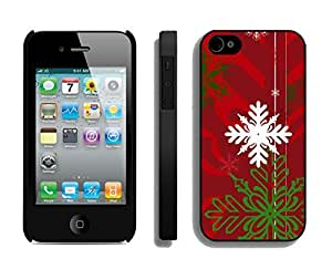Iphone 4S Case,Christmas White Green Snowflake Silicone Black Case For Apple Iphone 4/Iphone 4s Cover Case