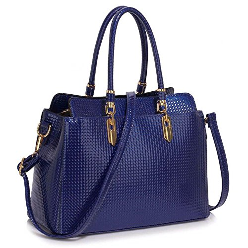 Xardi London Large Patent Shine Ladies Tote designer PU, borsa a tracolla Navy Style 2