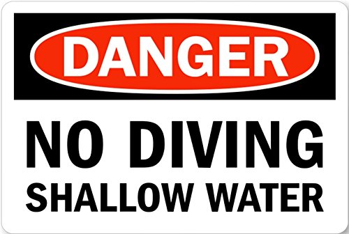 Danger NO Diving Shallow water Pool Metal Sign 8