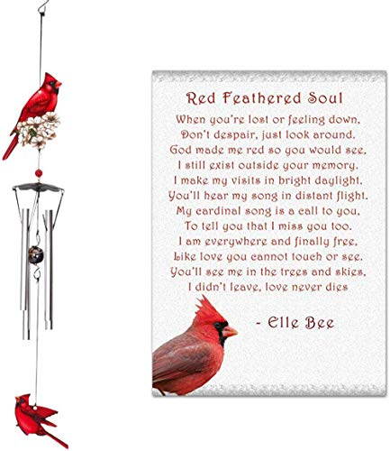 Lola Bella Gifts and Spoontiques Cardinal Wind Chimes and Red Feathered Soul Poem Card Red Box Sympathy Grief Memorial Gift from Lola Bella Gifts