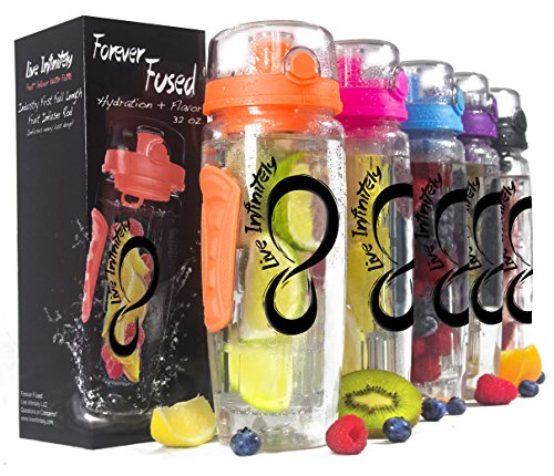 Live Infinitely 32 oz. Infuser Water Bottles - Featuring a Full Length Infusion Rod, Flip Top Lid, Dual Hand Grips & Recipe Ebook Gift (Orange, 32 oz)