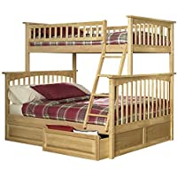 Columbia Bunk Bed with 2 Raised Panel Bed Drawer, Twin Over Full, Natural