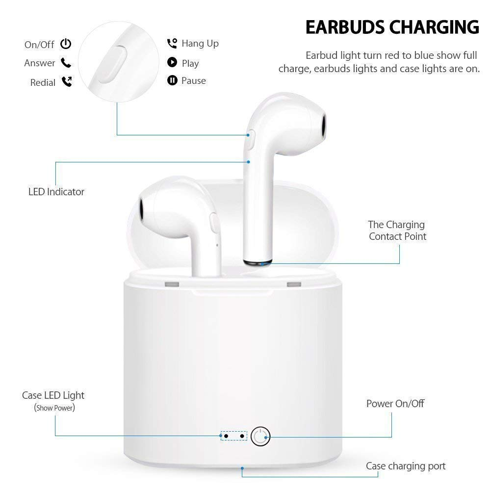 Bluetooth Headphones, Wireless Headphones Headsets Stereo in-Ear Earpieces Earphones with Noise Canceling Microphone, with 2 Wireless Built-in Mic Earphone and Charging Case for Most MIN001