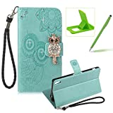 Strap Leather Case for Sony Xperia XA Ultra,Diamond Green Wallet Flip Case for Sony Xperia XA Ultra,Herzzer Stylish 3D Owl Magnetic Closure Cute Owl Printed Stand Shockproof Card Slots Folio PU Leather Back Case with Soft Silicone
