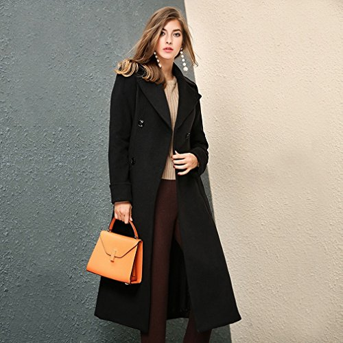 Coat Waist 'S Lapel Winter End Jacket WYF Section and High Temperament Fashion Autumn Black Waist Women Long FxH66wZv