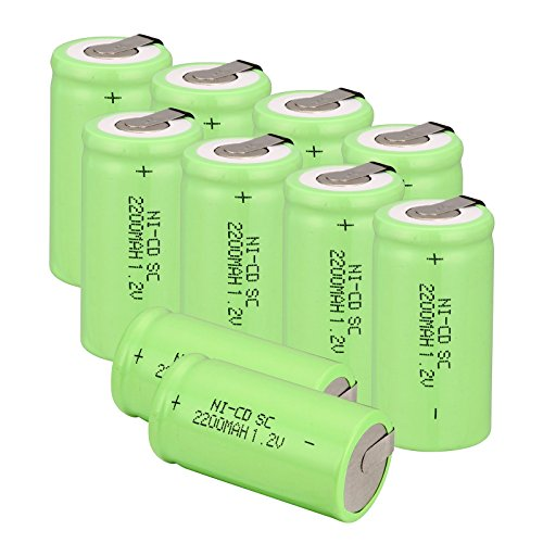 Nicd Radio Battery - Odstore 1.2V 2200mAh Ni-Cd Tap Sub C SC Rechargeable Battery Batteries (10pcs Green)