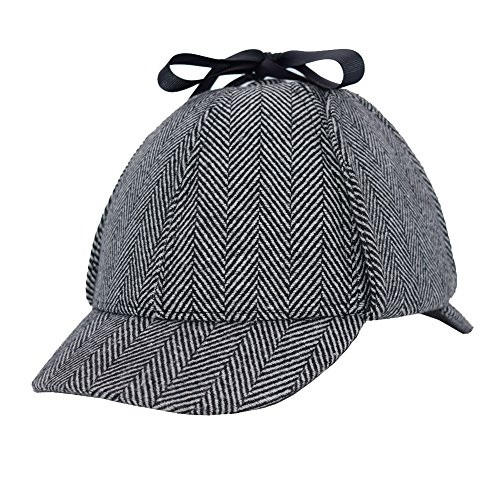 Sherlock Holmes Hat, England Unisex Sherlock Holmes Detective Hat Deerstalker Classic Version Cos Daily Play for Adults and Children