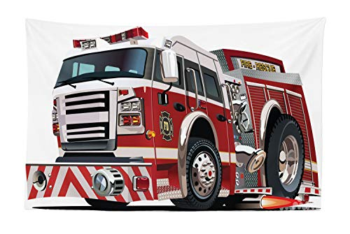 Lunarable Fire Truck Tapestry, Realistic Illustration Big Truck Fire Rescue Department Transportation, Fabric Wall Hanging Decor for Bedroom Living Room Dorm, 45 W X 30 L Inches, Ruby Black Pale Grey