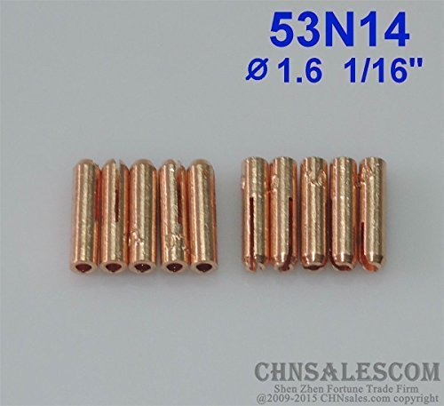 CHNsalescom 10 pcs 53N14 Short Collets for Tig Welding Torch WP-24 WP-24W 1.6mm (24w Tig Torch)