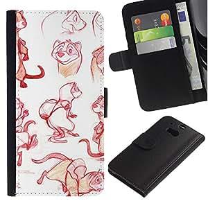 iBinBang / Flip Funda de Cuero Case Cover - Dibujo Diseño Gráfico - HTC One M8