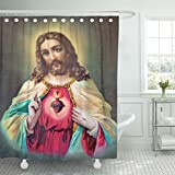TOMPOP Shower Curtain Sebechleby Slovakia July 24 Typical Catholic of Heart Jesus Christ From Printed in Germany the Begin 20 Waterproof Polyester Fabric 72 x 72 inches Set with Hooks