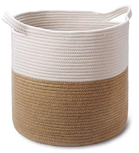 Large Jute Cotton Rope Basket - 15 x 15 x 16 Inch - Decorative Woven Storage Basket Laundry Hamper for Sofa Throws, Pillows, Toys, Clothes, Towels, Shoes, Large Potted Plants