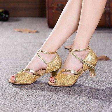 XIAMUO Nicht anpassbare Damen Tanzschuhe Latein Paillette Cuban Heel Outdoor mehr Farben, Gold, UNS 6,5-7/EU 37/ UK 4,5-5/CN 37