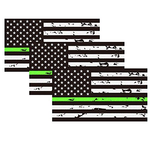Wife Green - Reflective Tattered Thin Green line USA Flag Sticker For Cars & Trucks, 5