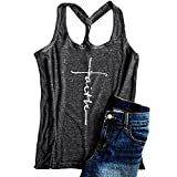 LAICIGO Womens Summer Racerback Graphic Tank Tops Twist Criss Faith Workout Tanks Shirts