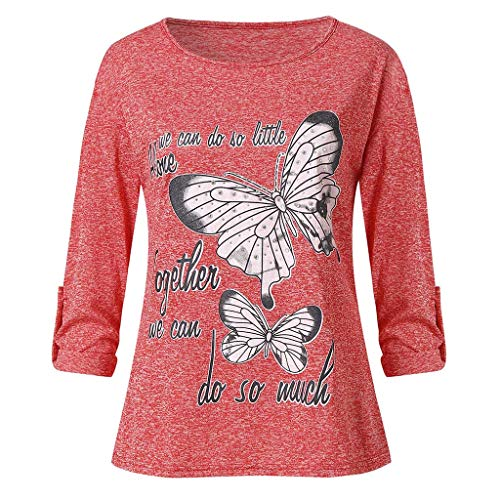 HYIRI Cool Multicolor Bead Shirt,Women's Butterfly Printed Cotton Top Red