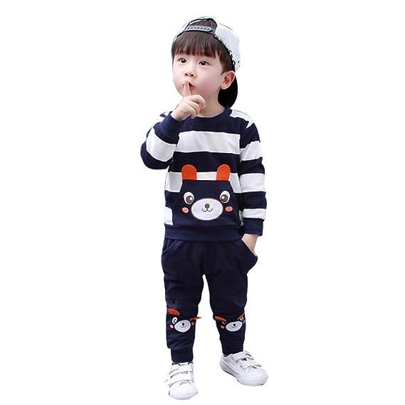 Bestow Otoño Invierno niños bebé niña niño Ropa Conjunto Oso Rayado Niño y  niña Oso de 10031a1eac5d