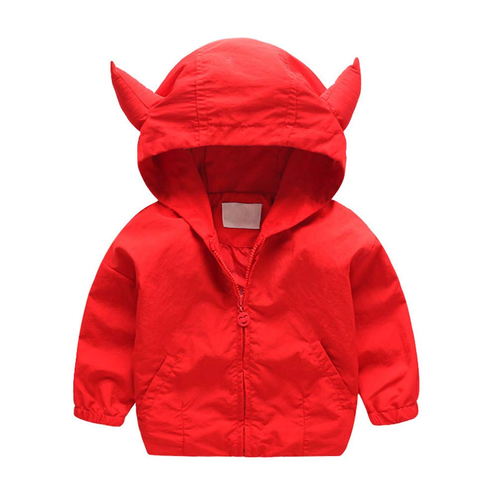 Little Kids Autumn Thin Coat,Jchen(TM) Fashion Toddler Kids Girls Boys Long Sleeve Ox Horn Hoodie Coat Windproof Outerwear for 1-5 Y (Age: 3-4 Years Old)