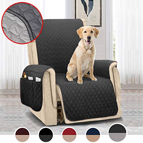 MOYMO Reversible Oversized Recliner Chair Cover,Durable Recliner Slipcover with 2 Inch Strap & Pockets,Machine Washable Recliner Cover for Dogs,Kids,Pets(Recliner Oversize:Dark Grey/Beige)