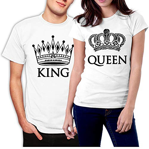 Image of picontshirt King and Queen Couple T-Shirts Men M/Women L