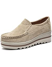 Women Platform Slip On Loafers Shoes Comfort Suede...