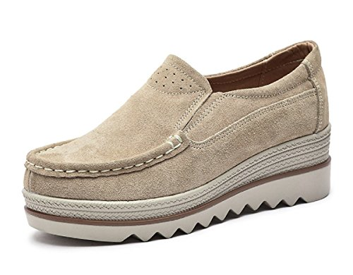(Rainrop Women Platform Slip On Loafers Shoes Comfort Suede Moccasins Fashion Casual Wedge Sneakers Khaki 40)