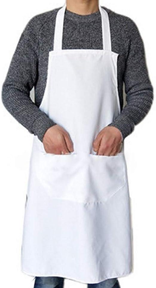 SSLBOO Mujer Hombre Cocinar Espesar Algodón Poliéster Delantal de ...
