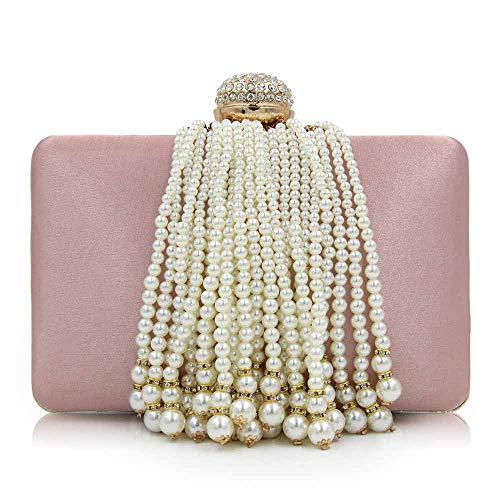 Borsa Da Donna A Forma Di Pochette Da Donna Con Frange Di Perle E Perle,1 2