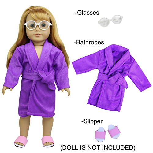 Casual Bathrobes Set for 18 inch American Girl Doll Clothes and other Doll Outfit - 1x Bathrobes+ 1x Glasses+ 1x - Costco Kids Glasses