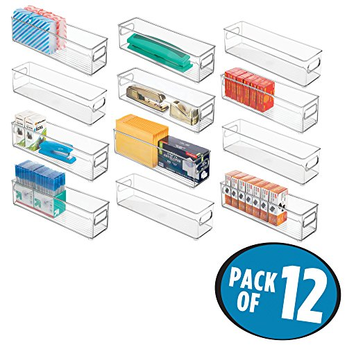 mDesign Stackable Plastic Storage Bin Container, Home Office Desk and Drawer Organizer Tote with Handles for Storing Gel Pens, Erasers, Tape, Pens, Pencils, Markers - 12 Pack, 14.5 Long, Clear