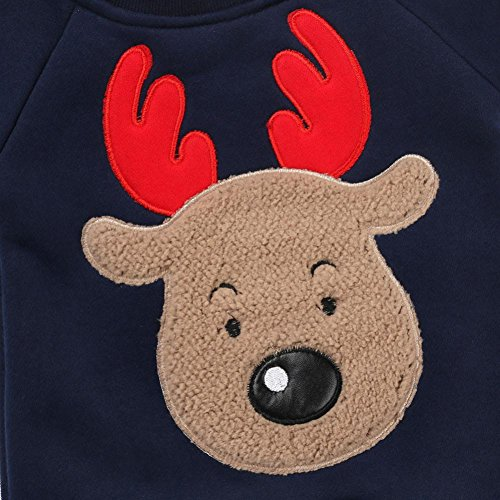 Longra Weihnachten Neugeborenes Baby Mädchen Jungen Deer Strampler Overall Outfit Set Baby Weihnachten Jumpsuit Pyjamas Outfits Kleidung Navy