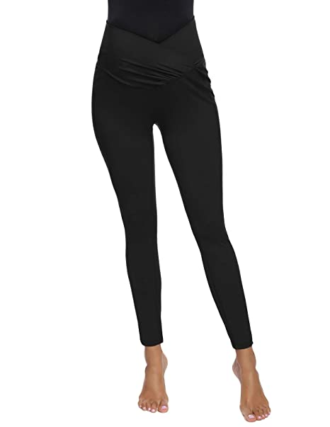 Maternity Legging Yoga Pants with Pockets Maternity Active Capri Pant Black S