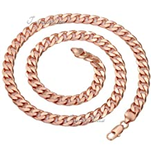 9MM 18K Rose Gold Filled Necklace Round Cut Curb Cuban Link Mens Chain Womens Necklace Jewelry