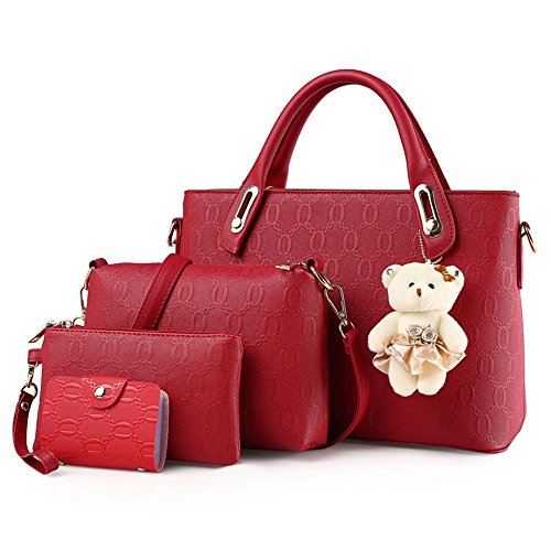 Xuanbao Commuter Casual Bolso de Hombro Bolso de Mensajero Bolso de Mano de la Mujer Bollo de la Madre Pack de Cuatro Conjuntos (Color : Negro) Rojo